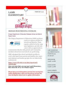Lamb Newsletter for February 2020